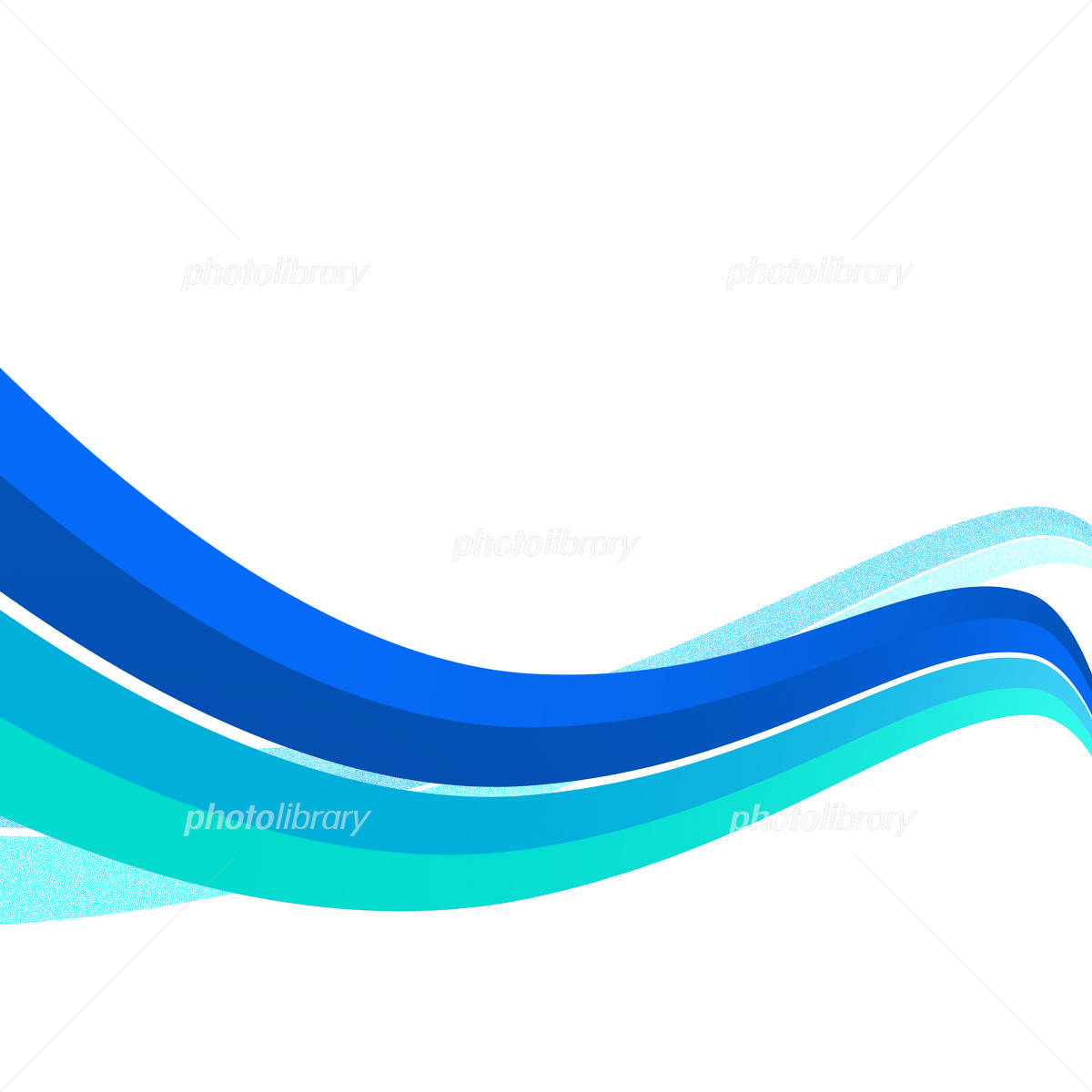 青い波 曲線模様 曲線のイラスト