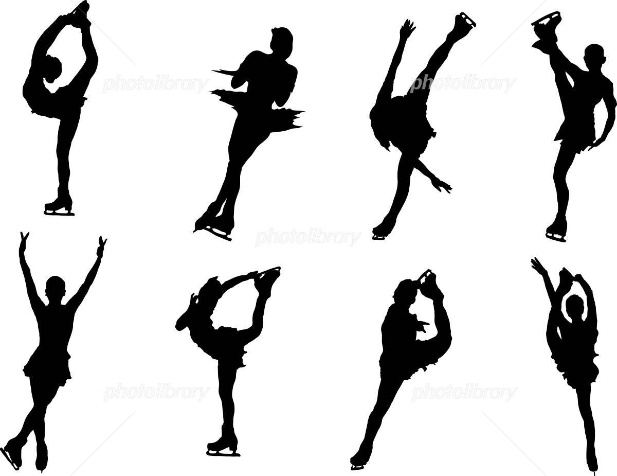 イラスト シルエット スポーツ フィギュアスケート イラスト素材