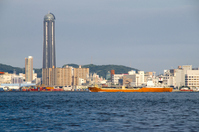 Cargo ships and Strait dream tower to go the Kanmon Strait Stock photo [552607] Kanmon