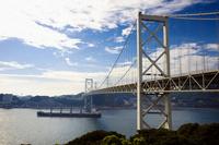 Cargo ship to go the Kanmon Bridge and Kanmon Strait Stock photo [553419] Bridge