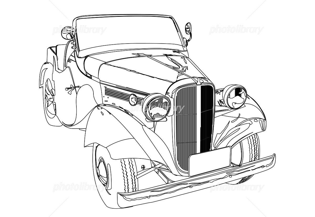 クラシックカーの線画イラスト イラスト素材 609675 フォトライブ