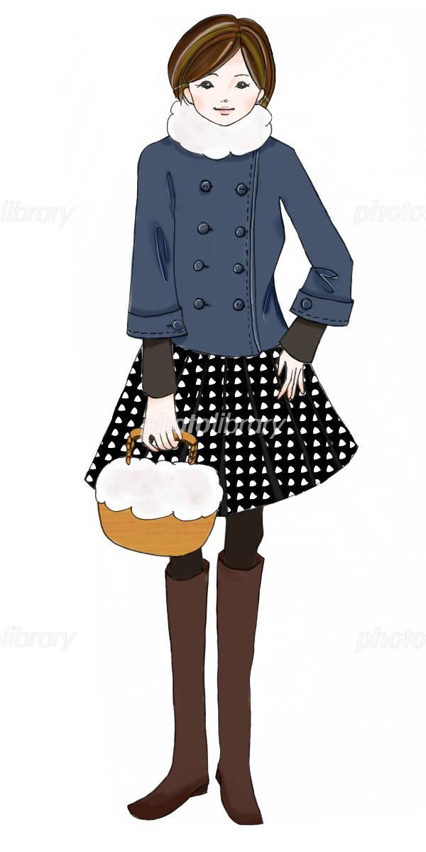 ファー付きバッグを持った冬服の女の子 イラスト素材 [ 684849