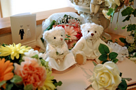 Wedding Bear and flower bouquet wedding of Interior Stock photo [853267] Wedding