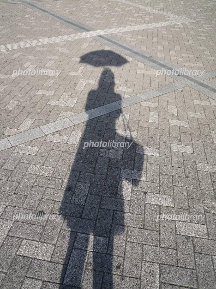 日傘を差す女性の人影の写真 無料 フリー