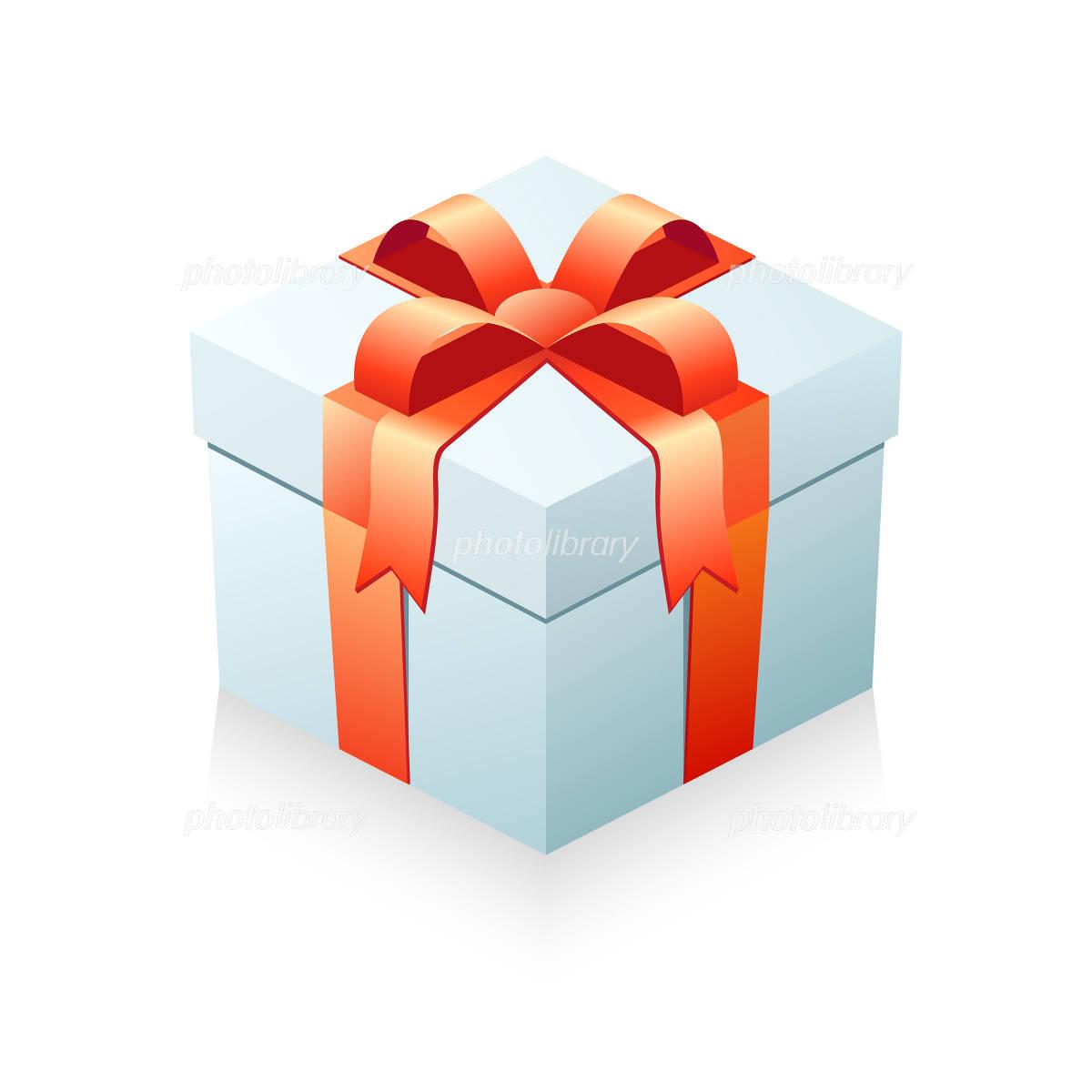 プレゼント箱 箱ライトブルーリボンレッド イラスト素材 1034438