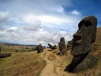 Moai of multiple bodies in the Rano Raraku, Easter Island Stock photo [1145445] MOAI