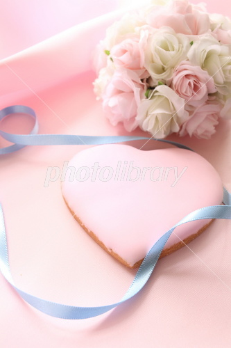 Heart Cookies and bouquet of wedding image Photo