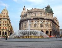 Italy Genoa Ferrari Square fountain Stock photo [1340757] Center