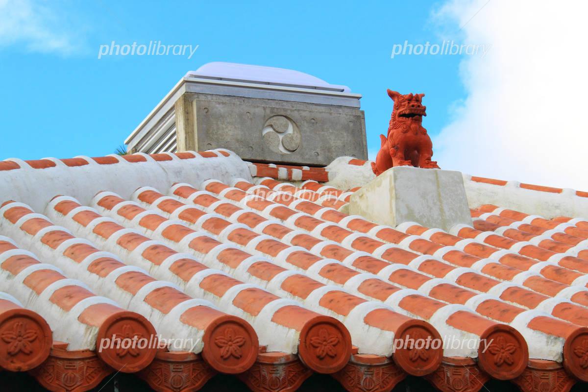 Shisa roof of Okinawa landscape red tile Photo