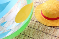 Beach ball and straw hat Stock photo [1421016] Beach