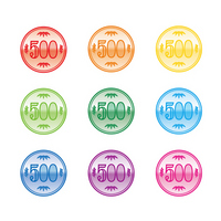 Colorful 500 yen coins [1425529] 促