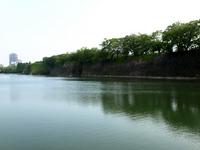 大阪城のお堀と石垣 の写真素材
