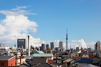 downtown residential and Tokyo Sky tree blue sky spreads Stock photo [1529509] Tokyo