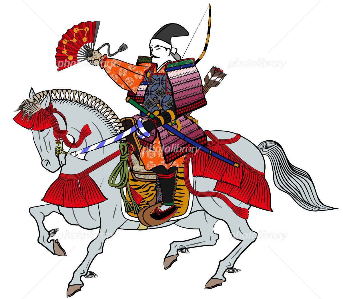 馬に乗る戦国武将 イラスト素材 1635905 フォトライブ
