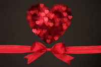 Heart-shaped and red ribbon on a black background Stock photo [1802523] Hart