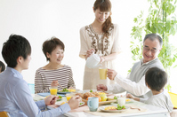 Of 3 generation family breakfast landscape Stock photo [1802759] Person