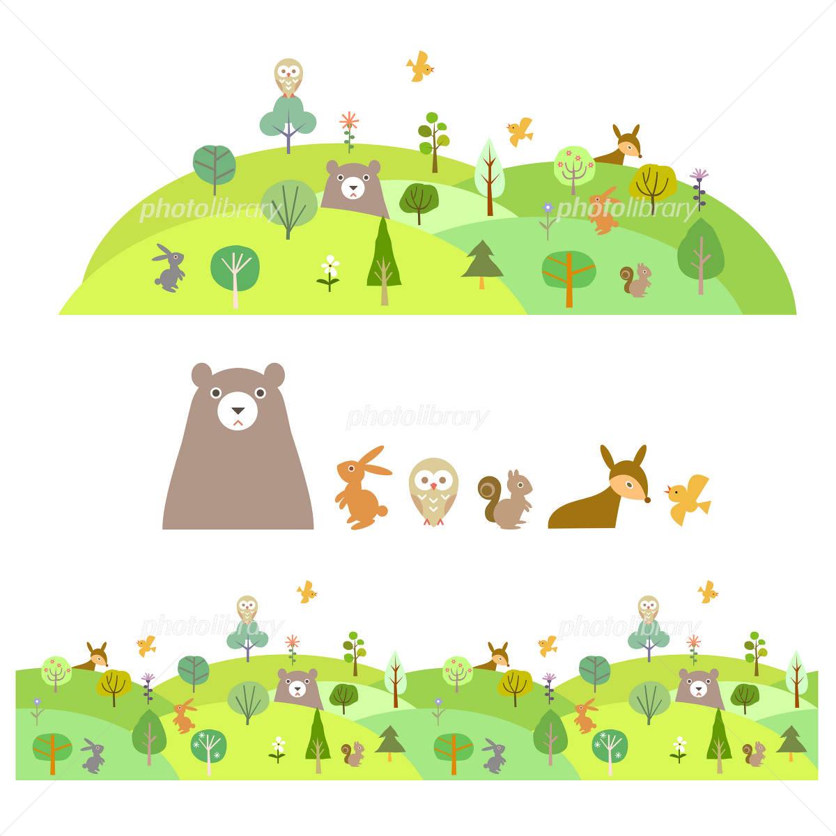 森 動物 木 緑 イラスト イラスト素材 1919567 フォトライブラリー