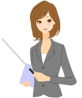 Business Woman pointing stick [1909937] A