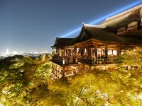 The night view of Kiyomizu-dera stock photo