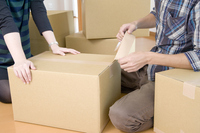 Up of men and women of the hand to the packing work of moving Stock photo [2027530] Moving
