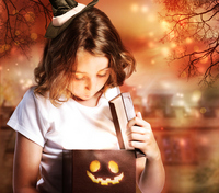 Girl and gift box wearing a witch hat Stock photo [2126040] Monster