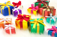 A lot of gifts and white fake fur background (horizontal) Stock photo [2233531] Giveaway