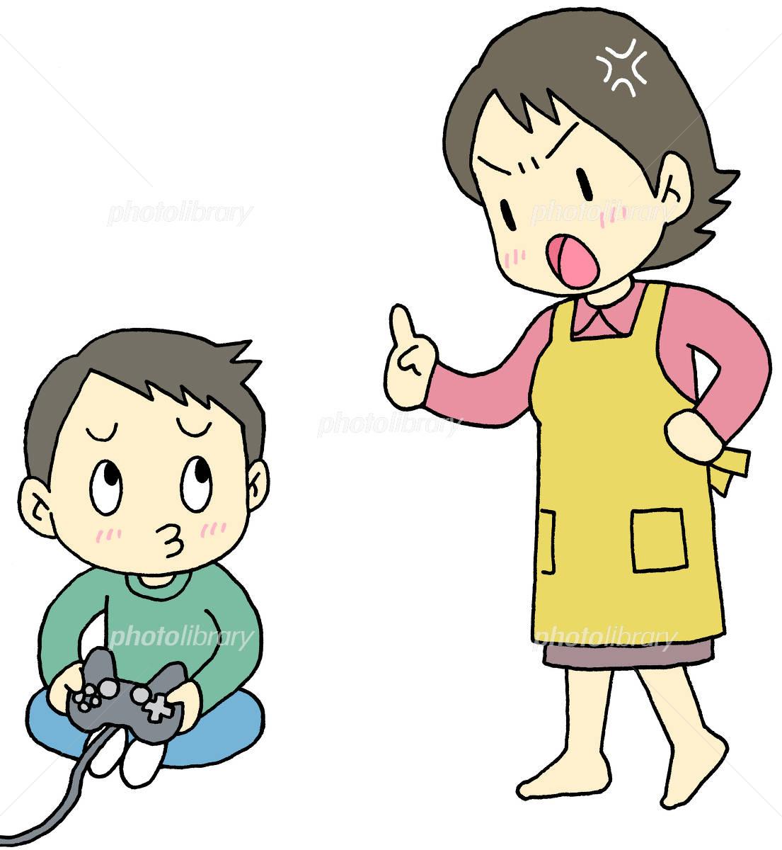 ゲームをする子供を叱る母親 イラスト素材 2361251 フォトライブ
