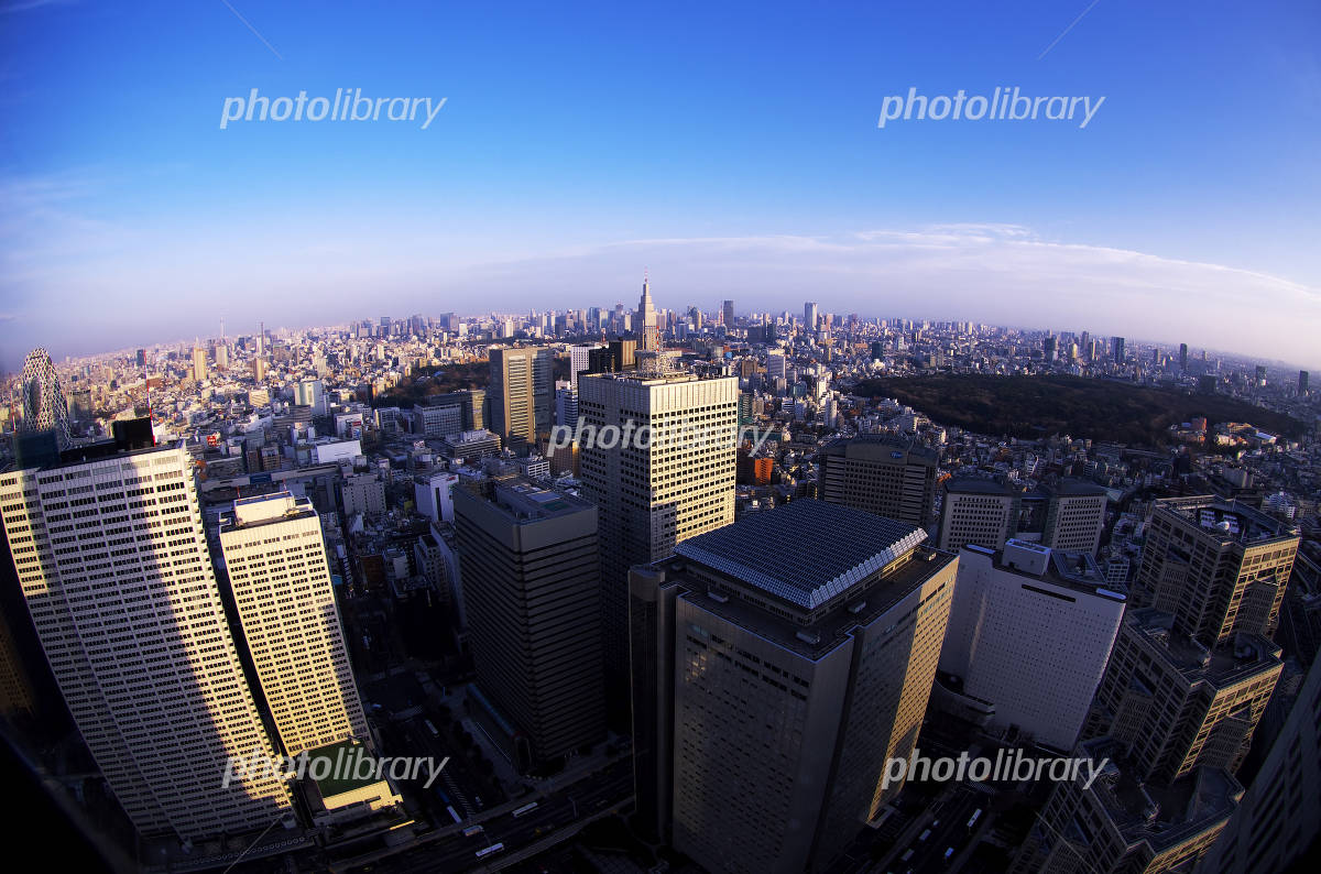 Streets of central Tokyo district with views from Shinjuku Photo