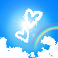 Heart-shaped clouds and rainbow in the sky [2366491] Hart
