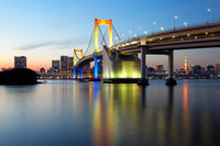 Light up and Tokyo Bay sunset of Rainbow Bridge of rainbow colors Stock photo [2371897] Landscape