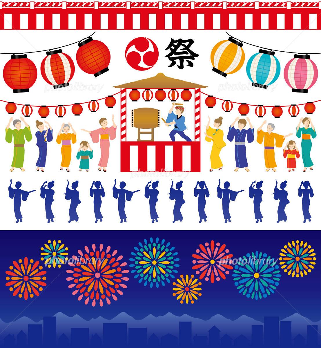 イラスト素材 夏祭り 盆踊り 花火大会のお知らせに 便利なイラストセット