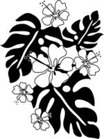 Hibiscus and Monstera illustrations monochrome Monstera