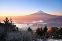 Fuji of the morning glow stock photo