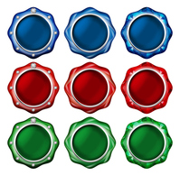 Illustration of a button of the jewel. / Blue, red, green. Vivid color. [2786590]