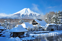 Fuji and rural snow stock photo