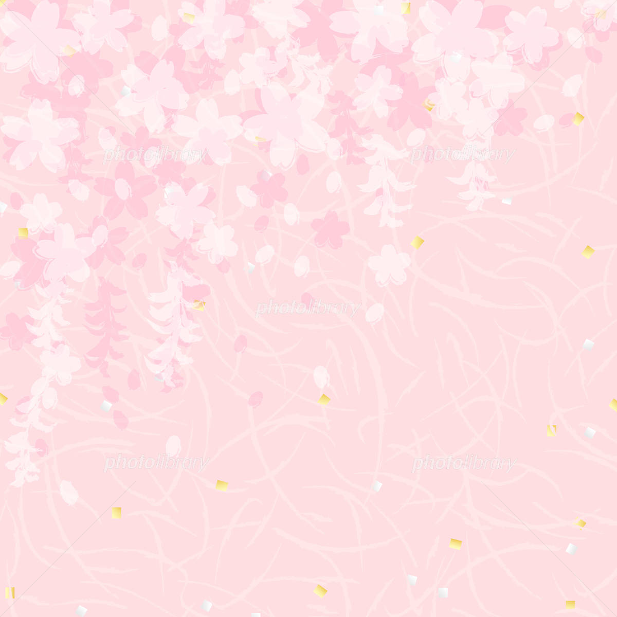 Weeping cherry tree shade overlaid Washi イラスト素材