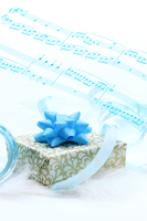 Gift of White Day (wrapping paper of gold pattern) and music Stock photo [2956018] White