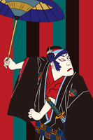 Fengyuan Shuen Sukeroku Ichikawa DanJuro image illustrations of Umbrella