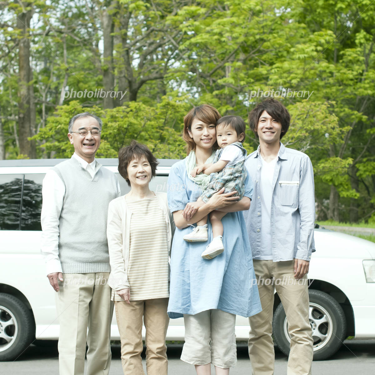 Smile in front of the car 3 generation family Photo