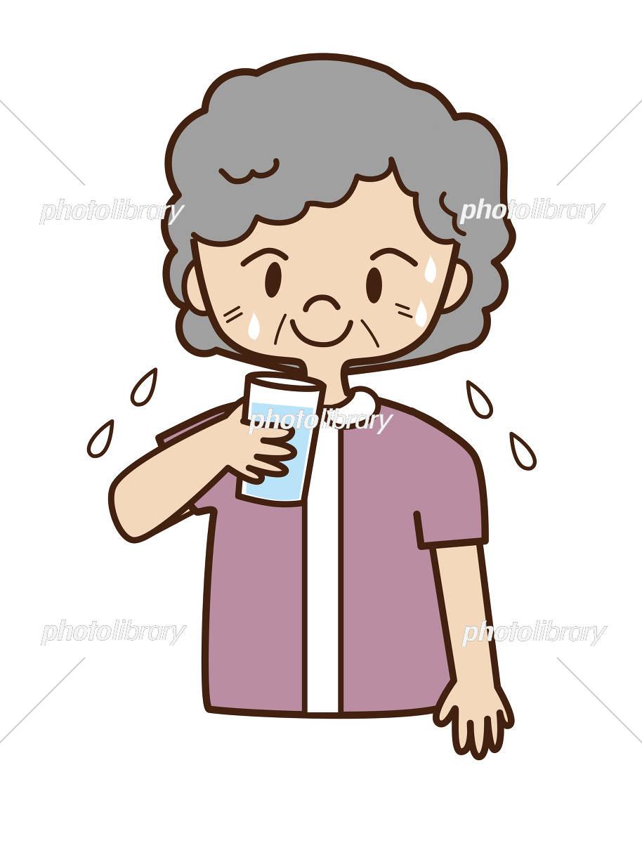 熱中症 水分補給 夏 高齢者 イラスト素材 3044545 フォトライブ