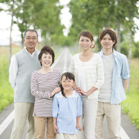 3 generation family smiling in a single road Stock photo [3039656] 3