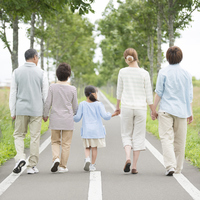 Rear View of Holding Hands 3 generation family by a single road Stock photo [3039718] 3