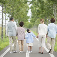 Rear View of Holding Hands 3 generation family by a single road Stock photo [3039722] 3