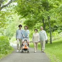 3 generation family walk in the fresh green Stock photo [3040433] 3