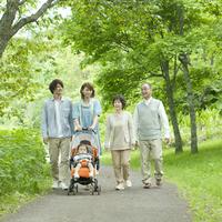 3 generation family walk in the fresh green Stock photo [3040454] 3
