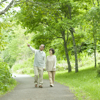 Senior couple walking in the middle of a fresh green Stock photo [3040504] Family