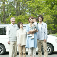 Smile in front of the car 3 generation family Stock photo [3040547] 3