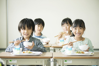 Elementary school students eat lunch Stock photo [3044041] Primary