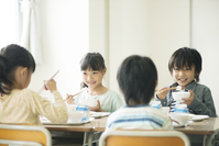 Elementary school students eat lunch Stock photo [3044079] Primary