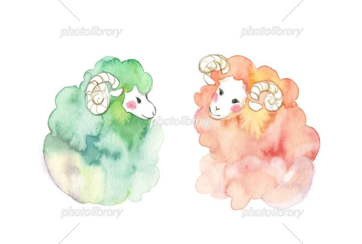 羊ペア イラスト素材 3124875 フォトライブラリー Photolibrary